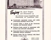 1950s Hotel Advertisement - St. Anthony San Antonio Texas - Vintage Antique Retro 50s Era Pop Art Ad for Framing 50 Years Old