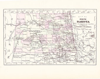 1895 State Map North Dakota - Vintage Antique Map Great for Framing 100 Years Old
