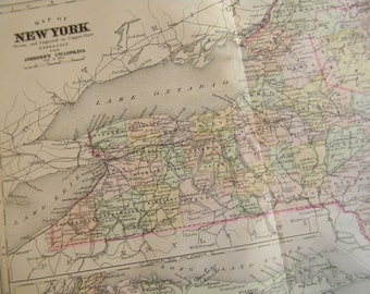 1897 State Map New York - Vintage Antique Map Great for Framing 100 Years Old