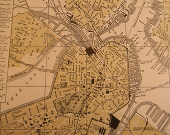 1903 City Map Boston Massachusetts - Vintage Antique Map Great for Framing 100 Years Old