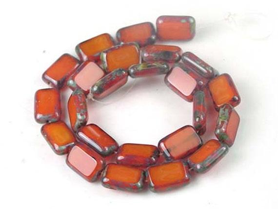 Czech Glass Rectangle Beads Opal Orange - Picasso (24 pc) (C061)