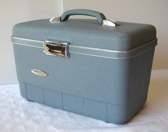 Sears Train Case Slate Blue FORECAST Vintage Travel Bag
