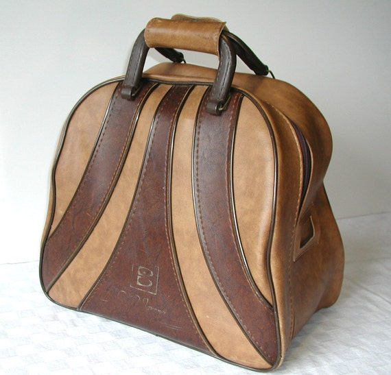 Brunswick WIND JAMMER Bowling Bag With Rack   Brown Two Tone Vintage Tote