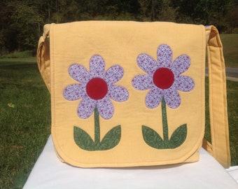 Calico floral messenger bag