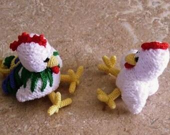 Bonnie's Crochet cotton Thread Item Mini Hen & Rooster crochet dolls @cyicrochet Not A Toy