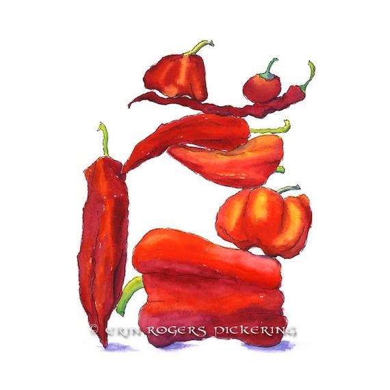 Red Peppers Balanced Diet 8x10 print Kitchen Art