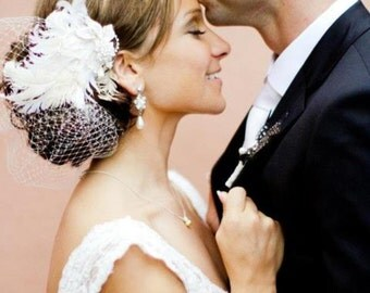 Wedding Veil and Headpiece -- Curly Feathers with Rhinestone Fascinator and the NEW Jewel Birdcage