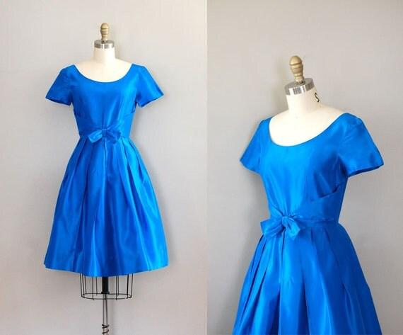 1950s dress / 50s dress full skirt / party dress / Azurina dress