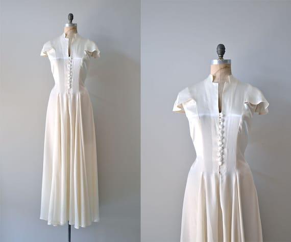 1930s Wedding Gowns: 1930s Wedding Dress / Vintage 30s Dress / Fair Temple Gown