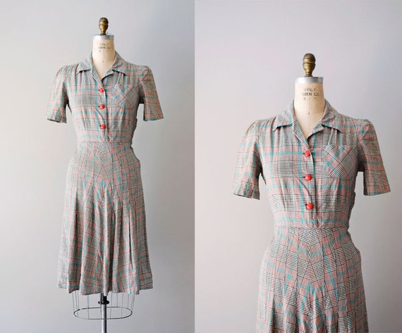 1940s dress / 40s plaid dress / Hi-de-ho dress