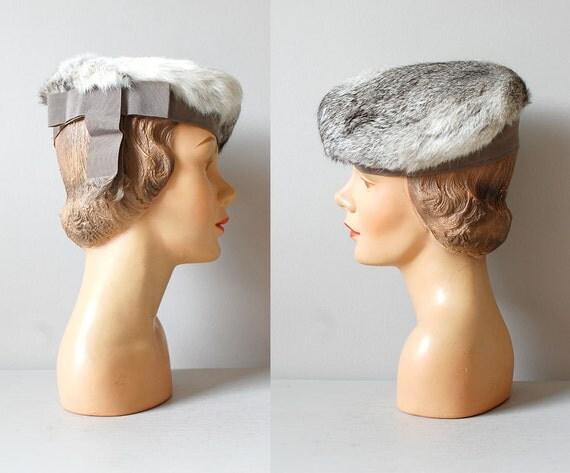 SALE rabbit fur beret / 1960s fur hat / Rabbit Tilt Beret