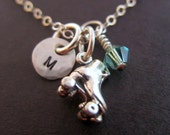 Roller Skate Necklace - Roller Derby Gear - Roller Girl Necklace - Derby Chick Necklace - Hand Stamped Charm Chain