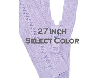 Ykk Jacket Zipper- One 27 inch Vislon Jacket Zipper YKK 5 Molded Plastic Medium Weight  Separating Bottom - Select Length and Color