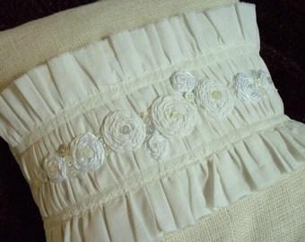 "Burlap Decor 12"" x 12""Creamy Burlap and Muslin Pillow Cover has Ruffles, Rosettes, Shabby Chic Style"