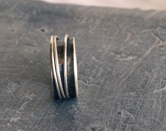Rustic sterling silver ring, Oxidized silver spinner ring, black silver wide ring band black metal ring