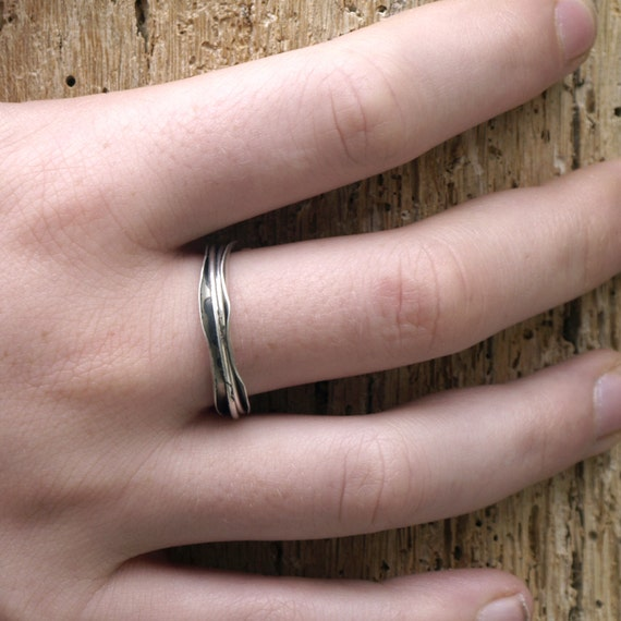 RESERVED Modern style, Silver ring organic sterling Silver ring with two wires running free,spinner ring, black silver