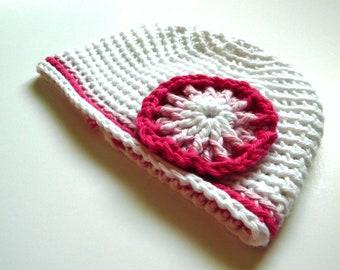 SALE Pink White Flower Newborn Hat Photo Prop Baby Girl Beanie Elf Crochet