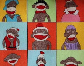 ECO Nap Mat - Preschool Napmat in Red Sock Monkeys with Organic Denim - Non Toxic Modern Toddler Bedding - Portable Nap Pad