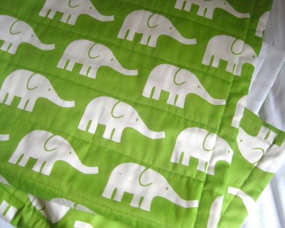 ORGANIC Baby Quilt / Modern Elephants Green White Crib Bedding Quilted Blanket - Eco Friendly Kids Nursery Decor (Ready to Ship)
