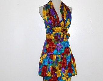 Vintage Dress Halter Retro Scarf