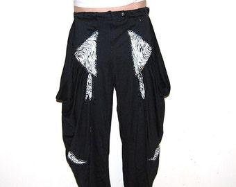 Vintage Pants Hipster  Harem Black with Leather