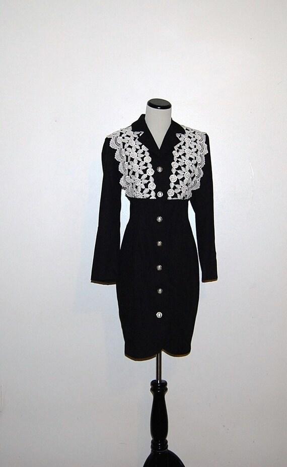 Vintage Dress Black Rose