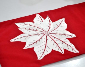 "Red Poinsettia Table Runner, Red Linen with White Poinsettia Embroidery, 14"" x 64"" Linen Table Runner, Custom Long Table Runner, Table top"