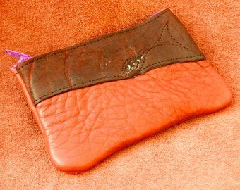 Handmade Leather Raggedy zipper coin purse, tote, smart phone bag. Buffalo on Buffalo