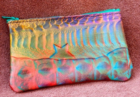 Handmade Leather Wallet /  Coin Change Purse Bag Rainbow Airbrushed Abstract Exotics Patterned Cowhide purple, green ,blue-rainbow