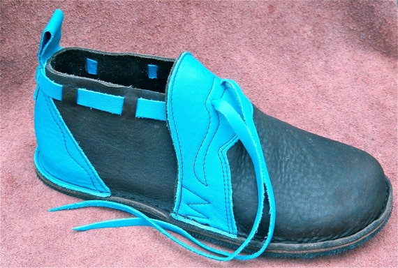 handmade leather shoes turquoise cow on brown bullhide