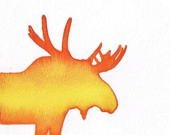 Watercolor, Firey Bearded Moose Silhouette - Orange Yellow Ombre, 5 x 7