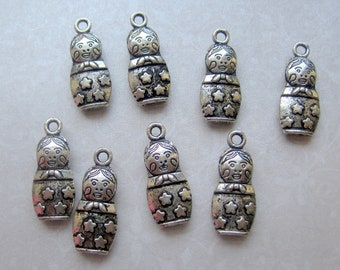 Tibetan Silver Matryoshka Russian Doll Charms - Set of 8 - 22x9mm