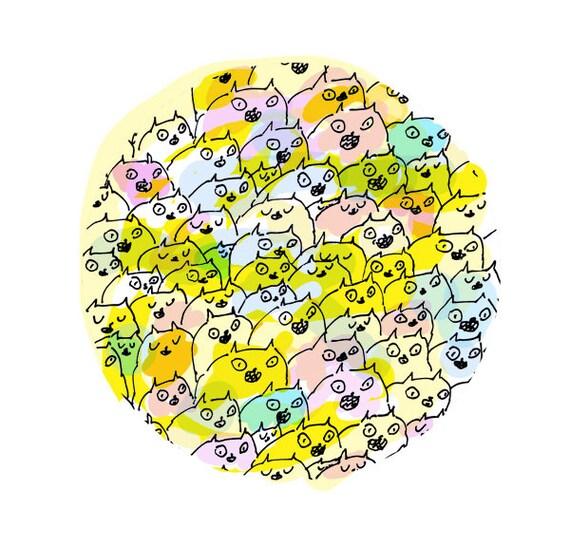 Cat Print- Happy Cats- Bright colorful wall art- Crazy Cat Lady
