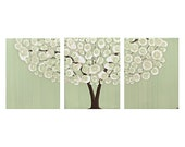 Tree Canvas Art - Original Acrylic Painting Triptych - Green - Medium 35x14