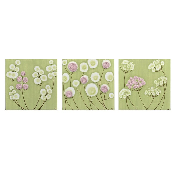 Pink and Green Nursery Decor - Set of Three Wall Art - Textured Flower Canvas Paintings - Medium 32x10