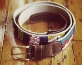 Colorful Knit Ikat Belt with Leather Accents, size 39