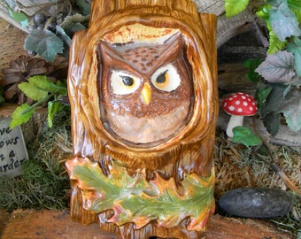 Owl in Tree Wall hanging ceramic glazed pottery - Vintage style