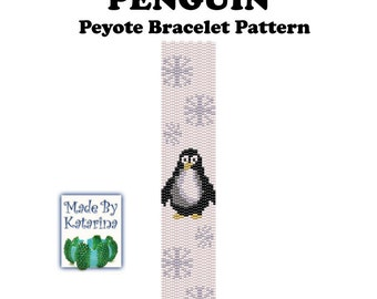 Peyote Pattern - Penguin - INSTANT DOWNLOAD PDF - Peyote Stitch Bracelet Pattern - Penguin Pattern - Two Drop Even Peyote - Peyote Penguin