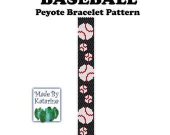 Peyote Pattern - Baseball - INSTANT DOWNLOAD PDF - Peyote Stitch Bracelet Pattern - Baseball Pattern - Peyote Baseball Tutorial