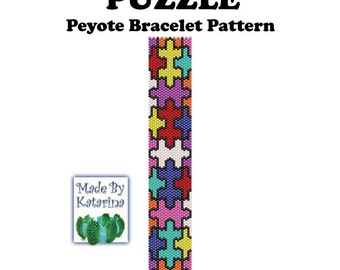 Peyote Pattern - Puzzle - INSTANT DOWNLOAD PDF - Peyote Stitch Bracelet Pattern - Puzzle Pattern - Puzzle Bracelet - One Drop Odd Peyote