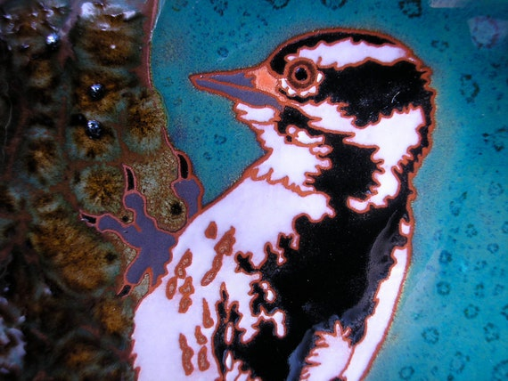 Female Downy Woodpecker tile, arts and crafts style, great detail, gift for birder, kitchen,bath,fireplace surround or framed