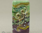 Handmade Lampwork Glass Rectangular Focal Bead (12569) -- Organic Pattern with Green & Purple