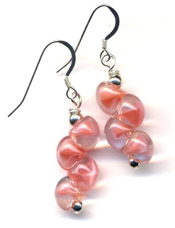 Sterling Pink Earrings. Pink Coral Givre Earrings. Sterling Silver Ear wire. Handmade Jewelry by AnnaArt72