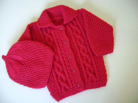 Hand Knitted Sweater and Hat  Aran Stitch 0 to 5 Months