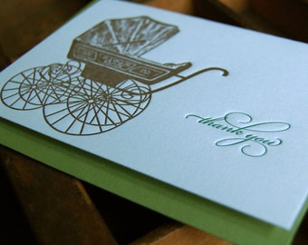 Baby Carriage, Letterpress,Thank you, SET of 6