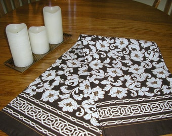Table Runner, Brown and White Floral Runner, 12 x 42 inches