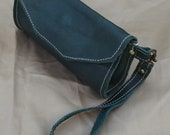 Small  Leather Wristlet - Clutch - Pouch - Wallet  made from 100% Soft Green  cowhide Leather  with detachable leather strap.