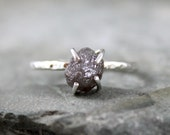 2 Carat Uncut Rough Diamond Solitaire Engagement Ring  -  Sterling Silver - Rough Gemstone Ring - April Birthstone