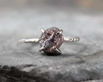 2 Carat Uncut Rough Diamond Solitaire Engagement Ring  -   10K White Gold  - Rustic Engagement Ring - April Birthstone