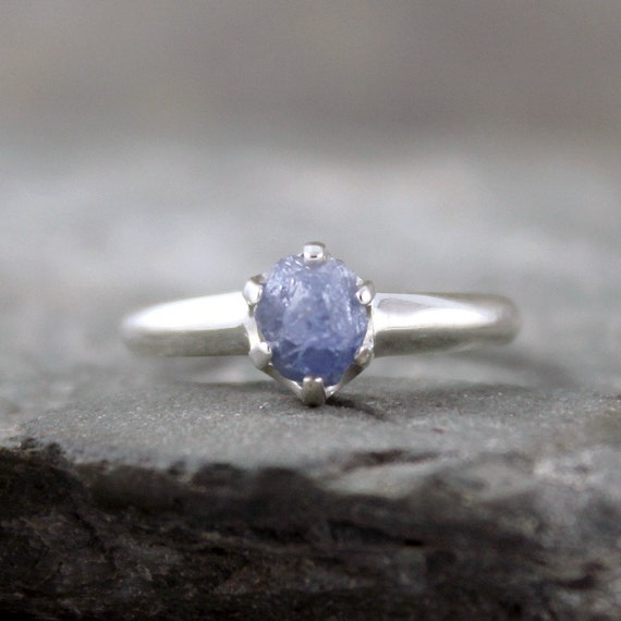 Rustic Raw Rough Uncut Sapphire and Sterling Silver Ring  - Rough Sapphire Engagement Ring - September Birthstone Ring